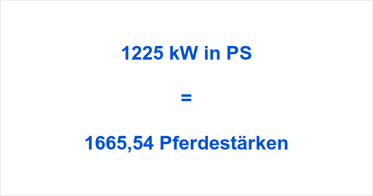 1225 kW in PS