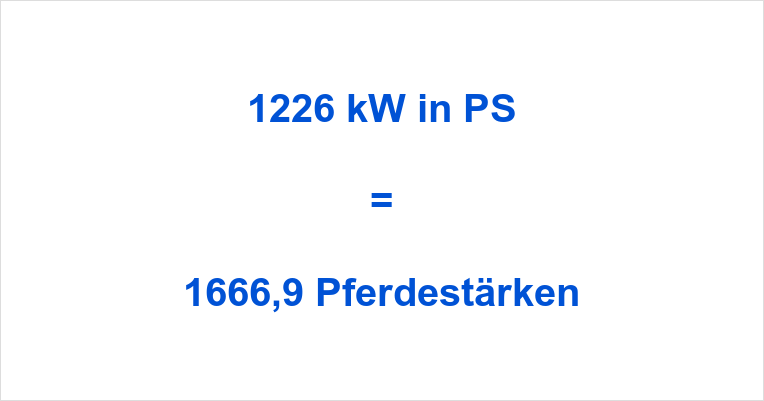 1226 kW in PS
