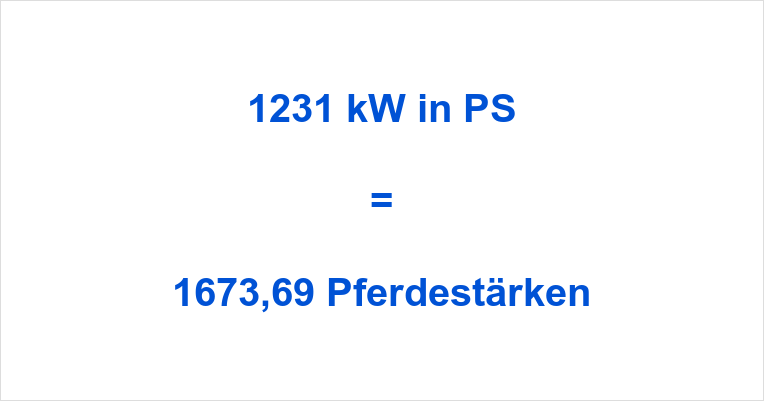 1231 kW in PS