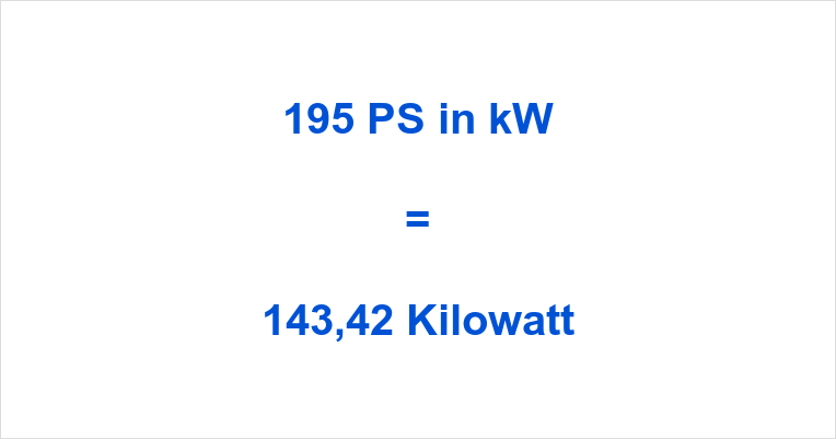 195 PS in kW