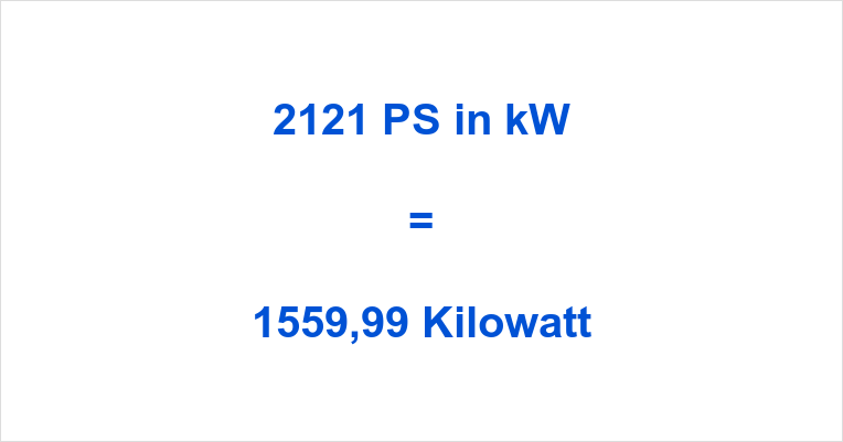 2121 PS in kW