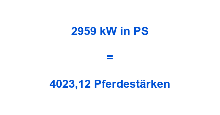 2959 kW in PS