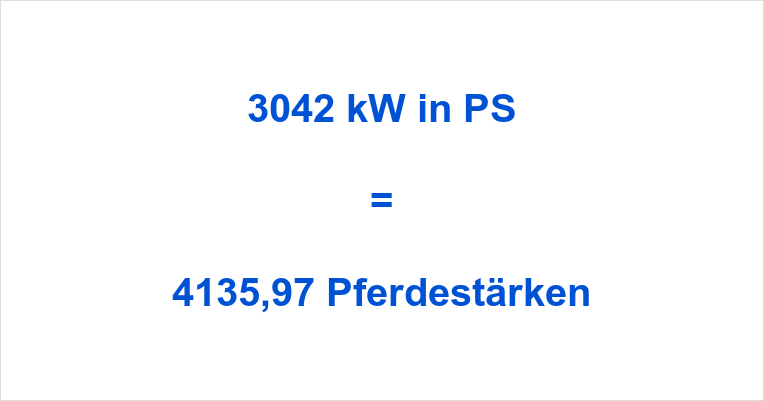 3042 kW in PS