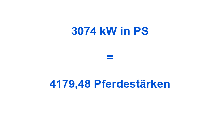 3074 kW in PS