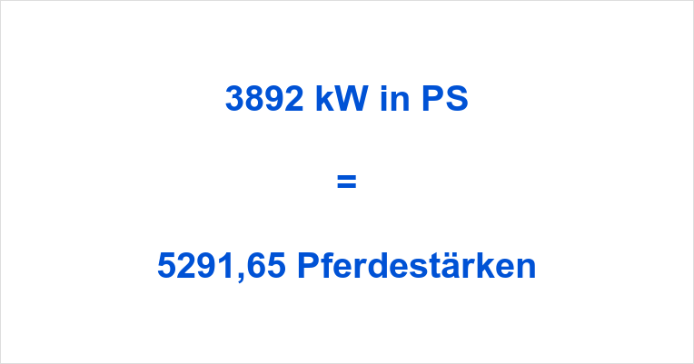 3892 kW in PS