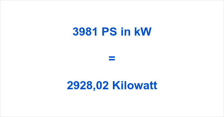 3981 PS in kW