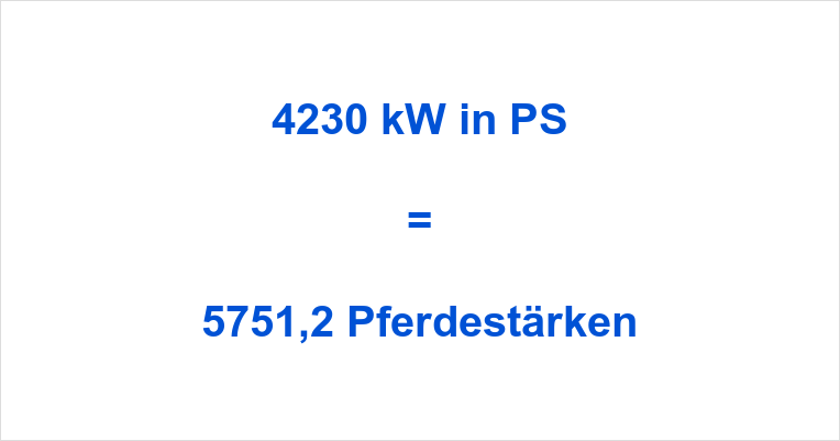4230 kW in PS