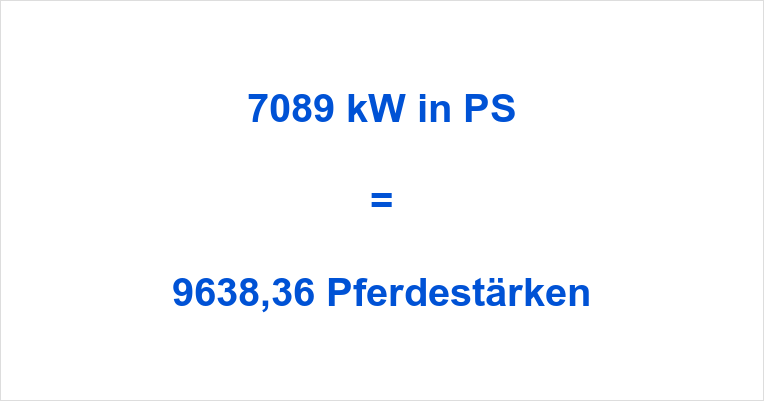 7089 kW in PS