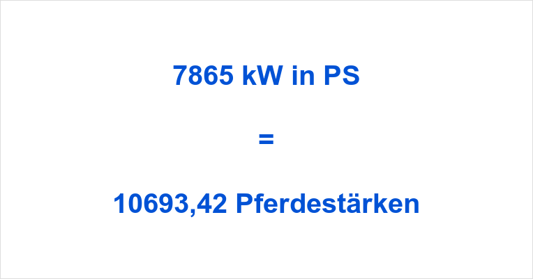 7865 kW in PS