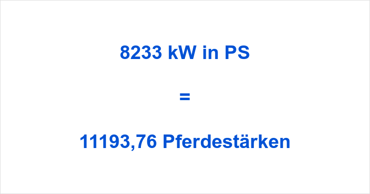 8233 kW in PS