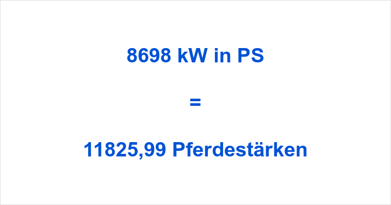 8698 kW in PS