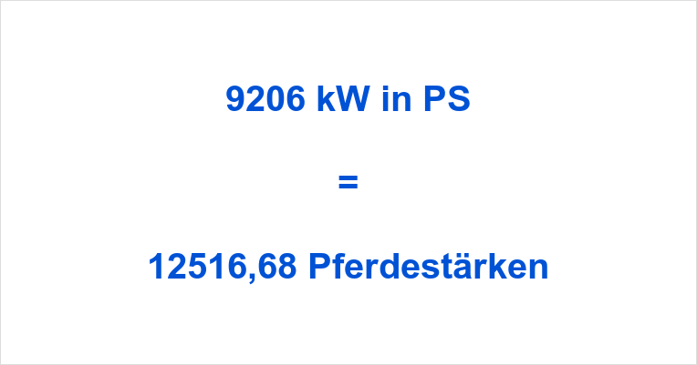 9206 kW in PS