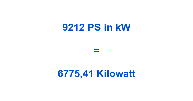 9212 PS in kW