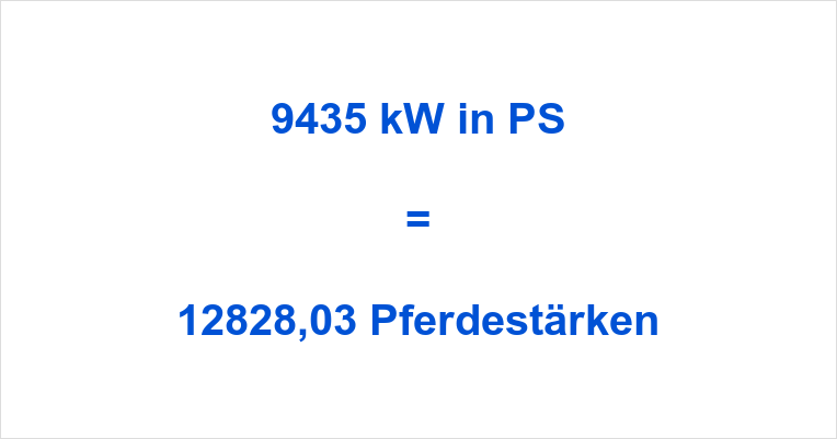 9435 kW in PS