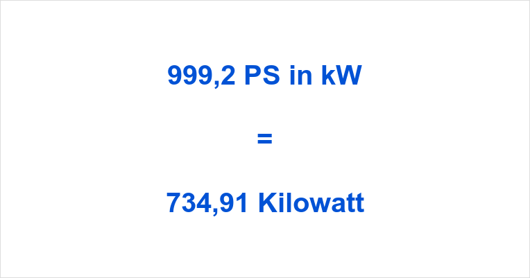 999,2 PS in kW