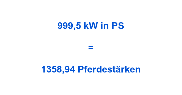 999,5 kW in PS